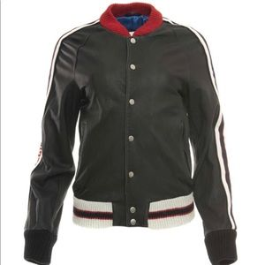 Gucci leather letterman jacket Blk/Red size (46)